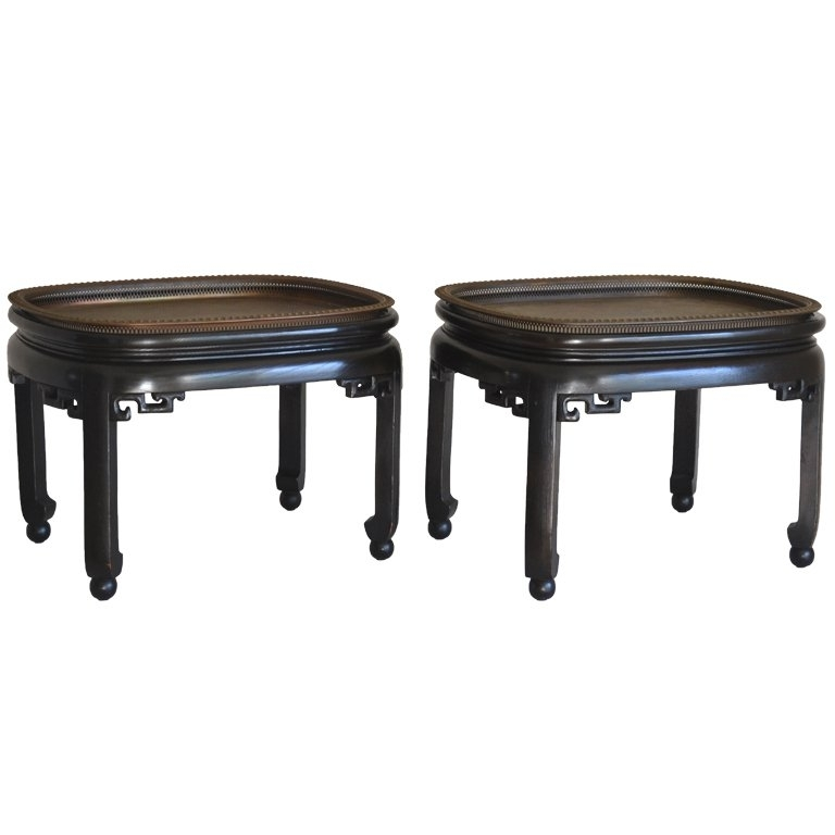 Pair Of Ebonized Wood And Brass Tray Coffee Tables At 1Stdibs In Joni Brass And Wood Coffee Tables (View 37 of 40)