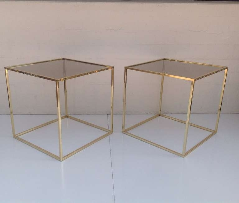 Pair Of Polished Brass And Bronze Glass Cube Tables Designedmilo In Brass Iron Cube Tables (Image 30 of 40)