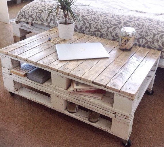 "Pallet Coffee Table ""lemmik"" Farmhouse Style, Rustic, Shabby Chic With Large Scale Chinese Farmhouse Coffee Tables (Image 38 of 40)"