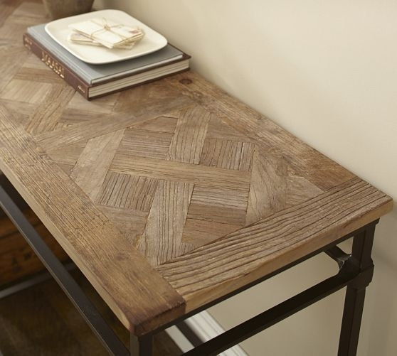 Parquet Reclaimed Wood Console Table | Console Tables, Consoles And Iron In Reclaimed Elm Cast Iron Coffee Tables (View 13 of 40)