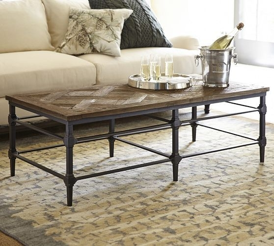 Parquet Reclaimed Wood Rectangular Coffee Table | Pinterest | Coffee Within Reclaimed Elm Cast Iron Coffee Tables (View 5 of 40)