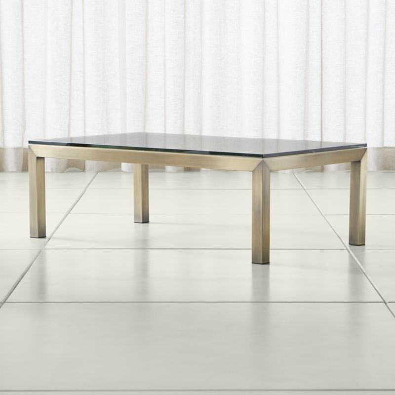 Parsons Clear Glass Top/ Brass Base 48X28 Small Rectangular Coffee With Rectangular Brass Finish And Glass Coffee Tables (Image 26 of 40)
