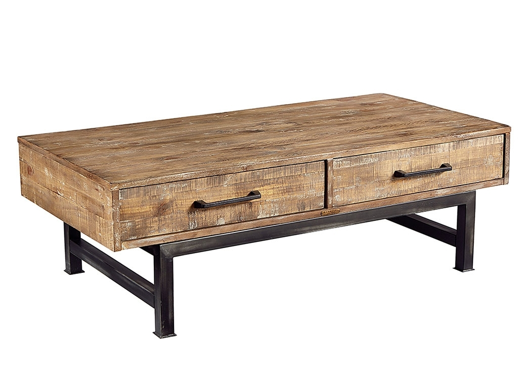 Penland's Furniture Pier & Beam Coffee Table, Salvage/chimney Finish With Magnolia Home Showcase Cocktail Tables (Image 31 of 40)