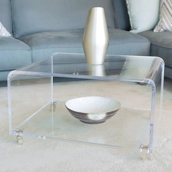Perspex Clear Acrylic Coffee Table With Wheels – Buy Perspex Clear Throughout Modern Acrylic Coffee Tables (Image 33 of 40)
