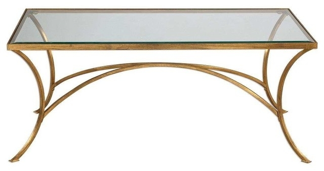 Petre Glass Coffee Table, Gold – Transitional – Coffee Tables – Pertaining To Elba Cocktail Tables (View 17 of 40)