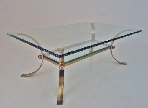Pier Luigi Colli Vintage Large Coffee Table Brass & Chiseled Glass Intended For Chiseled Edge Coffee Tables (View 33 of 40)