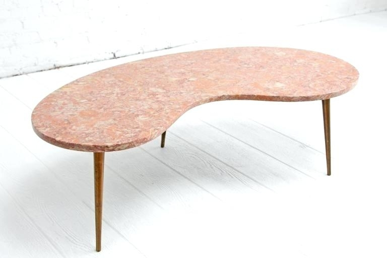 Pink Coffee Table Organic Kidney Shaped Pink Marble Coffee Table The Within Suspend Ii Marble And Wood Coffee Tables (Photo 8 of 40)