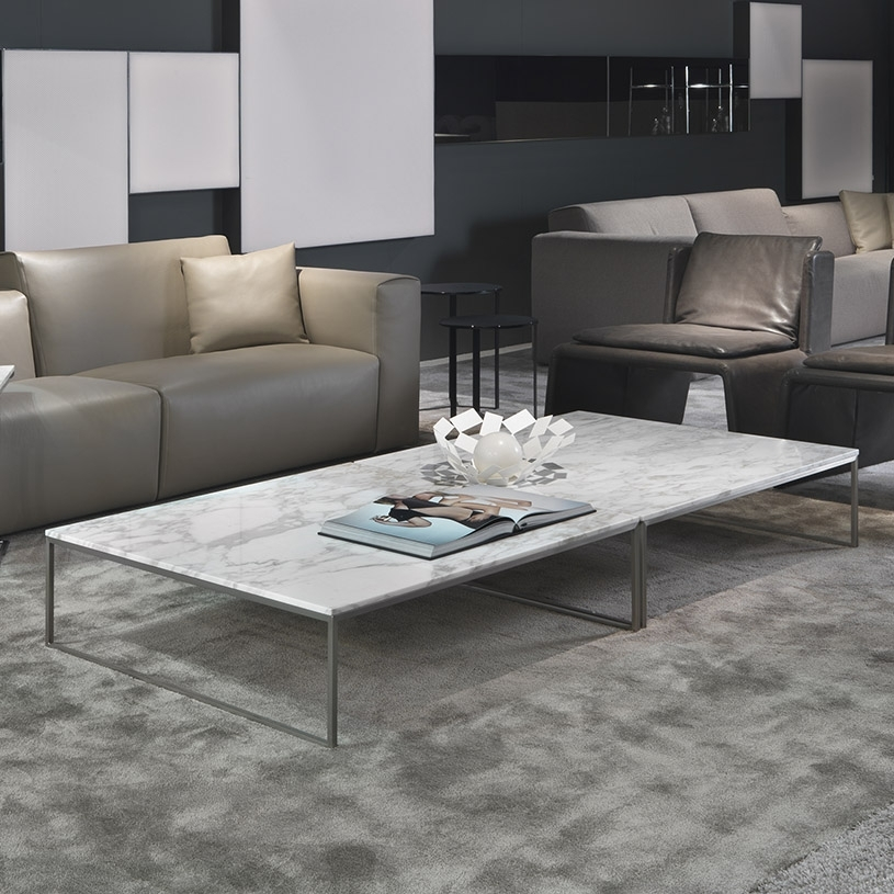 Porto Square Marble Coffee Table & Chrome Inside Marble Coffee Tables (Image 29 of 40)