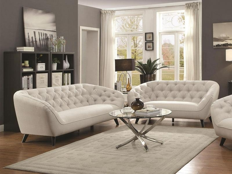 Potomac New Modern Silver Fabric Sofa Couch & Loveseat Set Living Throughout Potomac Adjustable Coffee Tables (Image 26 of 40)