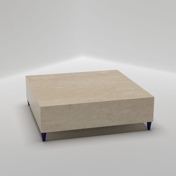 Pouf Big Square Coffee Table – Italian Marble Furniture Pertaining To Suspend Ii Marble And Wood Coffee Tables (Image 24 of 40)
