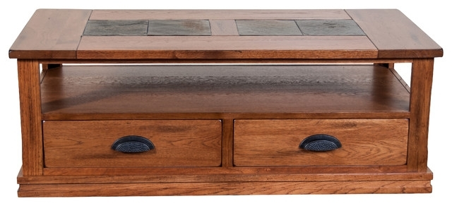 Prescott 2 Drawer Slate Top Coffee Table With Shelf – Traditional With Prescott Cocktail Tables (Image 15 of 40)