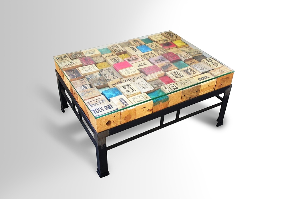Printed Pallet Blocks Coffee Table – Metal Base – Ari Shomron Designs Within Aria Lift Top Cocktail Tables (Photo 39 of 40)