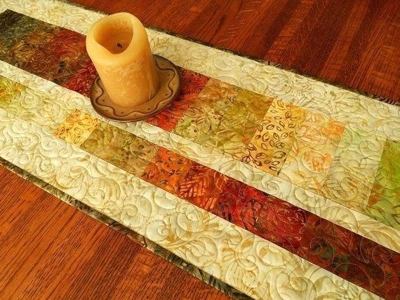 Quilted Coffee Table Batik Fall Leaves Quilted Table Runner Or Wall With Batik Coffee Tables (Image 36 of 40)