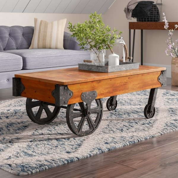 Railroad Cart Coffee Table | Wayfair Intended For Natural Wheel Coffee Tables (Photo 38 of 40)