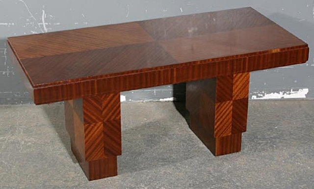 Rare French Art Deco Mahogany Coffee Table C1920S For Sale Regarding Antiqued Art Deco Coffee Tables (Photo 15 of 40)