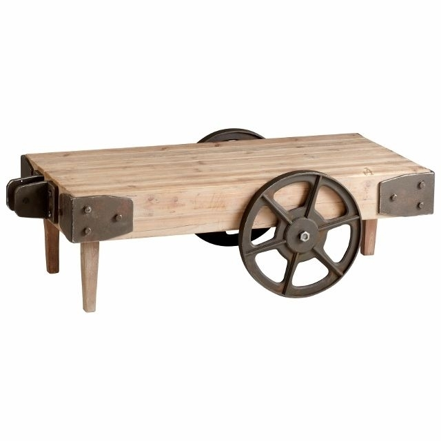 Raw Iron And Natural Wood Industrial Look Cart Table W/ Wheels | Old Throughout Natural Wheel Coffee Tables (Image 36 of 40)
