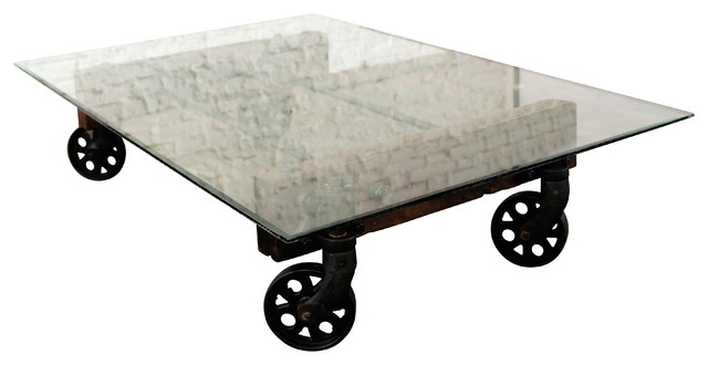 Reclaimed Cast Iron Coffee Table With Glass Top – Industrial Intended For Reclaimed Elm Cast Iron Coffee Tables (View 15 of 40)