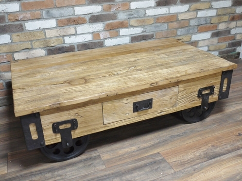 Reclaimed Elm Coffee Table Intended For Reclaimed Elm Cast Iron Coffee Tables (Photo 31 of 40)
