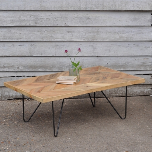 Reclaimed Hair Pin Coffee Table – Parquet Top – Home Barn Vintage Pertaining To Parquet Coffee Tables (Image 33 of 40)