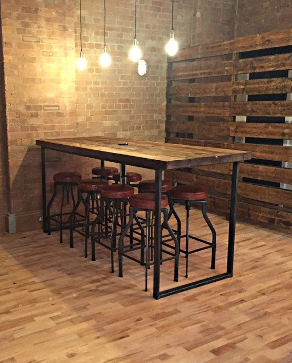 Reclaimed Industrial 8 Seater Chic Tall Poseur Dining Table Desk With 33 Inch Industrial Round Tables (Photo 15 of 40)