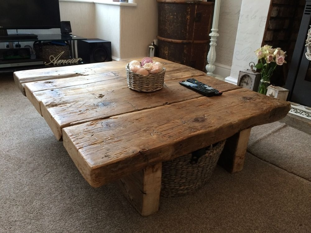 Reclaimed Pine Coffee Table – Rustic Furniture,railway Sleeper,oak With Reclaimed Pine Coffee Tables (Image 25 of 40)