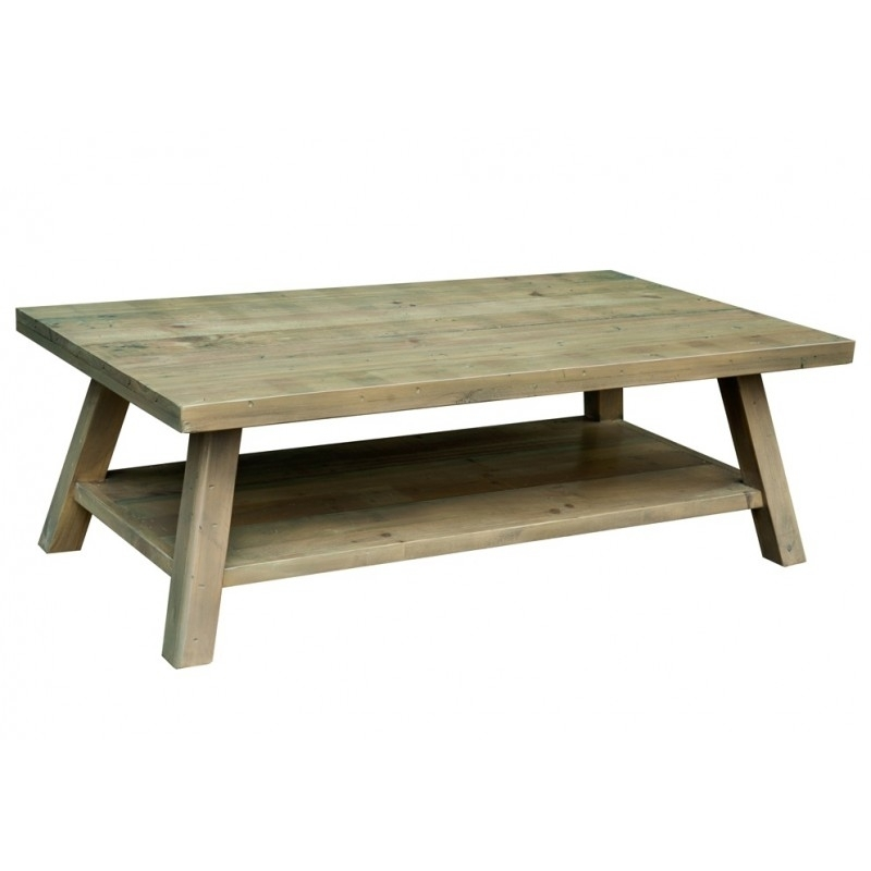 Reclaimed Pine Timber Open Shelf Coffee Table | Fullbrook Intended For Reclaimed Pine Coffee Tables (Image 29 of 40)