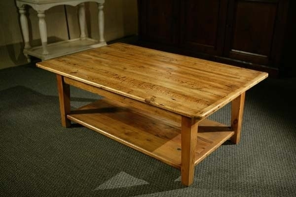 Reclaimed Pine Wood Coffee Table With Shelf And Tapered Legs – Lake Regarding Reclaimed Pine Coffee Tables (Image 30 of 40)