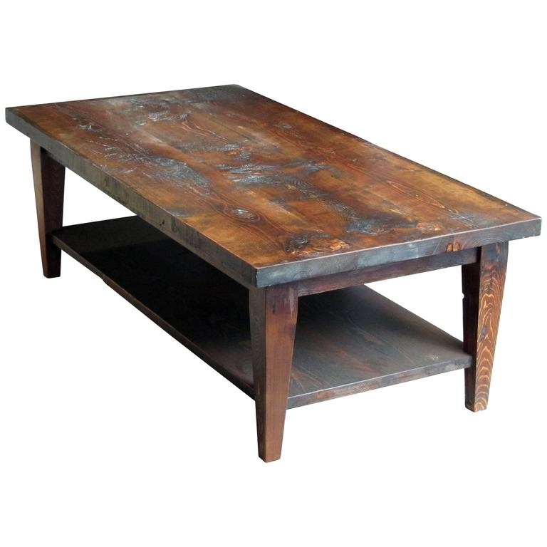 Reclaimed Semi Rustic Pine Coffee Table With Bottom Shelf And Within Reclaimed Pine Coffee Tables (Photo 5 of 40)