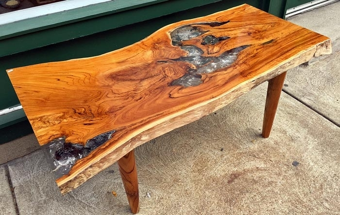 Reclaimed Teak And Resin Coffee Table, Wood Legimpact Imports Inside Live Edge Teak Coffee Tables (View 13 of 40)