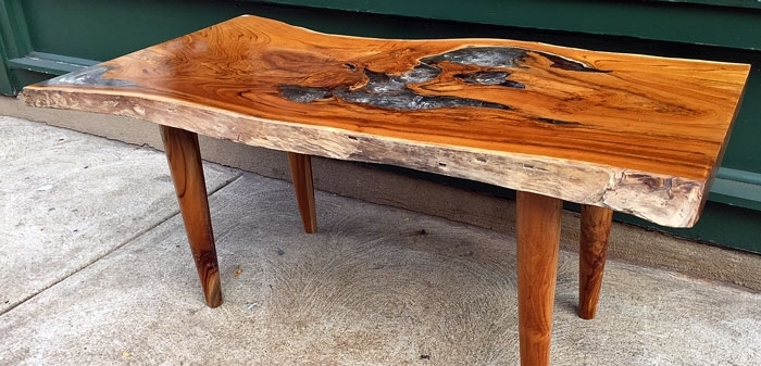 Reclaimed Teak And Resin Coffee Table, Wood Legimpact Imports Throughout Live Edge Teak Coffee Tables (Photo 7 of 40)