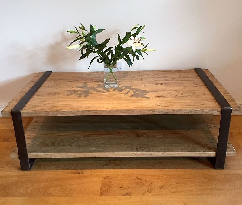 Reclaimed Wood And Iron Coffee Table With Shelf With Regard To Reclaimed Elm Iron Coffee Tables (View 6 of 40)