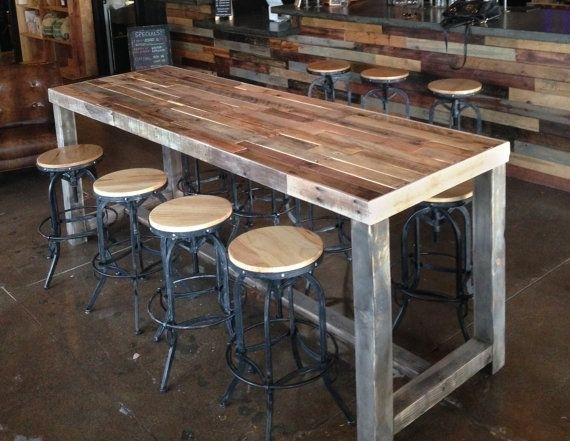 Reclaimed Wood Bar Restaurant Counter Community Communal Rustic With Recycled Pine Stone Side Tables (Photo 17 of 40)