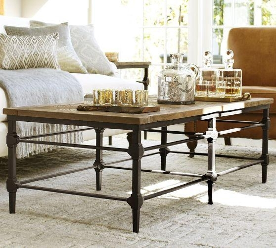 Reclaimed Wood Top Industrial Cast Iron Base Coffee Table With Reclaimed Elm Cast Iron Coffee Tables (View 2 of 40)
