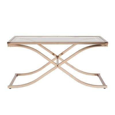 Rectangle – 4 & Up – Coffee Table – Glass – Coffee Tables – Accent With Regard To Rectangular Brass Finish And Glass Coffee Tables (Image 28 of 40)