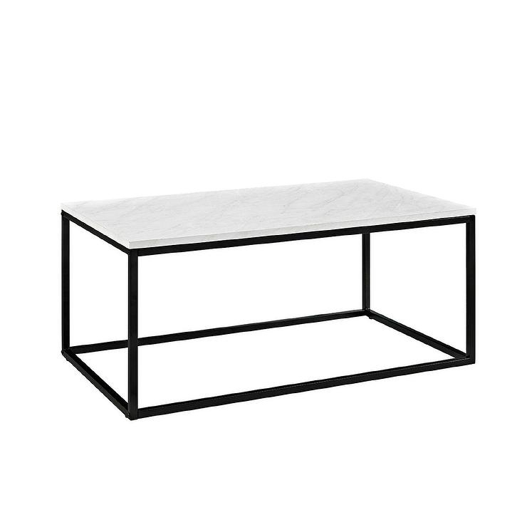 Rectangle White Marble Black Iron Frame Coffee Table Intended For Alcide Rectangular Marble Coffee Tables (Image 34 of 40)