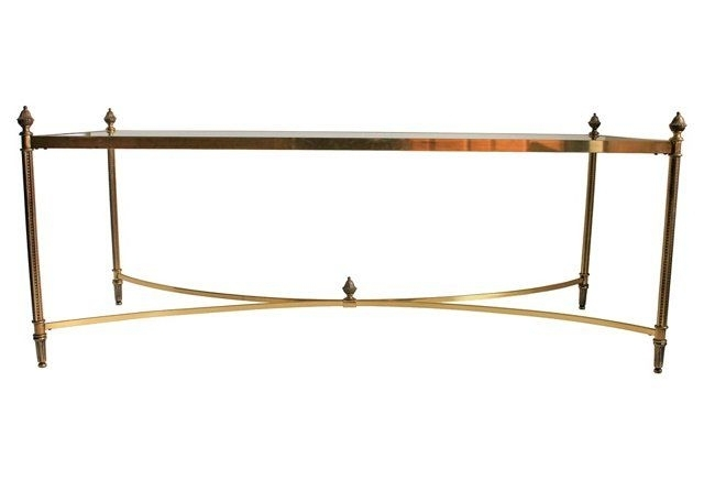 Rectangular Brass & Glass Coffee Table | One Kings Lane Vintage Inside Rectangular Coffee Tables With Brass Legs (View 20 of 40)