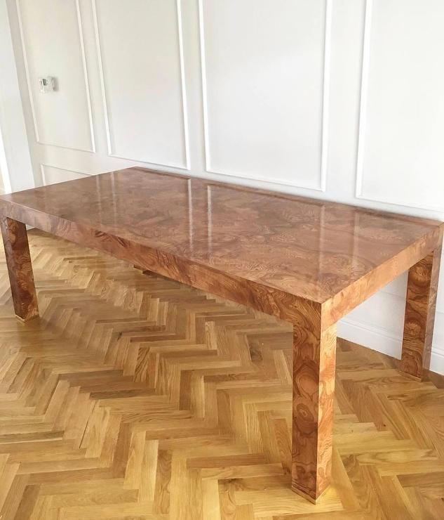 Rectangular Burlwood Veneer Glossy Dining Table Throughout Oslo Burl Wood Veneer Coffee Tables (Image 35 of 40)