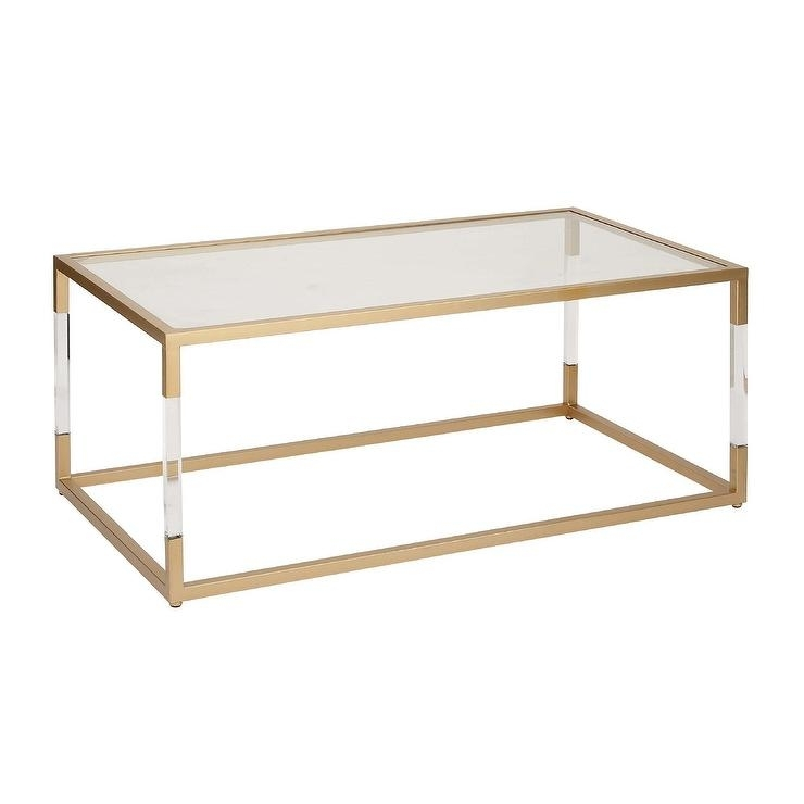 Rectangular Gold Acrylic Glass Coffee Table Within Modern Acrylic Coffee Tables (View 39 of 40)