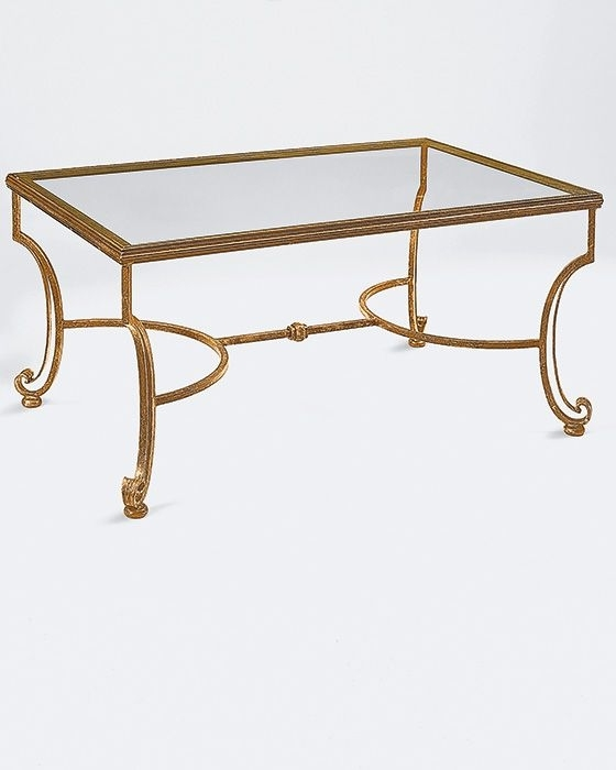 Rectangular Wrought Iron Coffee Table With Distressed Antiqued Gold With Regard To Rectangular Brass Finish And Glass Coffee Tables (View 14 of 40)