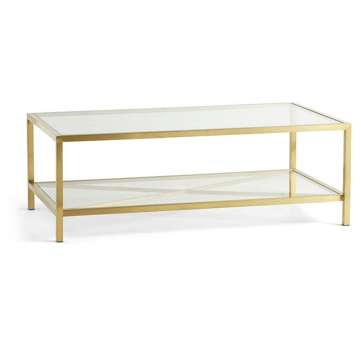 Rectangular X Base Brass Glass Coffee Table Regarding Rectangular Brass Finish And Glass Coffee Tables (Photo 2 of 40)