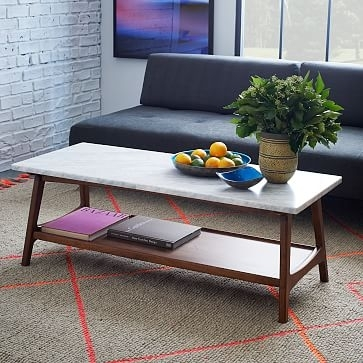 Reeve Mid Century Rectangular Coffee Table West Elm Aspiration Throughout Suspend Ii Marble And Wood Coffee Tables (Image 25 of 40)