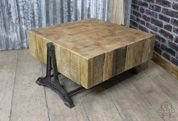 Retro Industrial Style Coffee Table Reclaimed Pertaining To Reclaimed Pine Coffee Tables (Image 32 of 40)