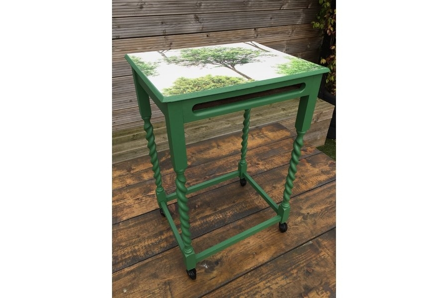 Revamped Vintage Green Painted Side/coffee Table With Barley Twist Within Barley Twist Coffee Tables (View 26 of 40)