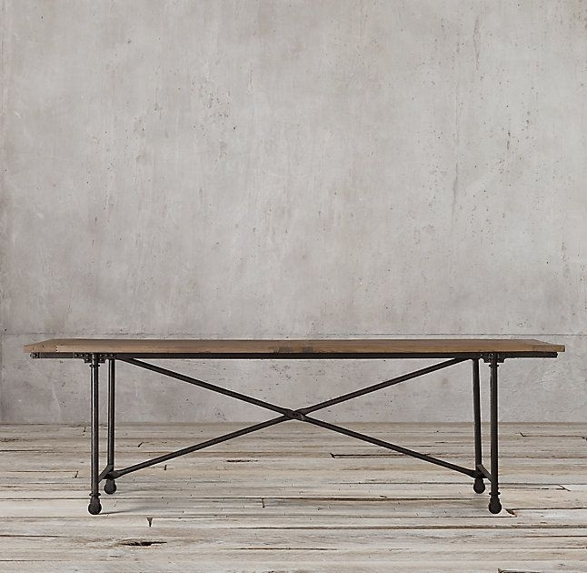 Rh's Flatiron Rectangular Dining Table:the Pairing Of Antique Pertaining To Reclaimed Elm Cast Iron Coffee Tables (View 10 of 40)