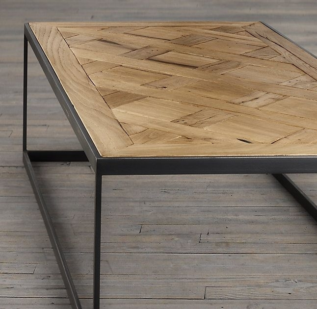 Rh's Reclaimed Russian Oak Parquet Coffee Table:merging Old World Regarding Parquet Coffee Tables (Image 35 of 40)