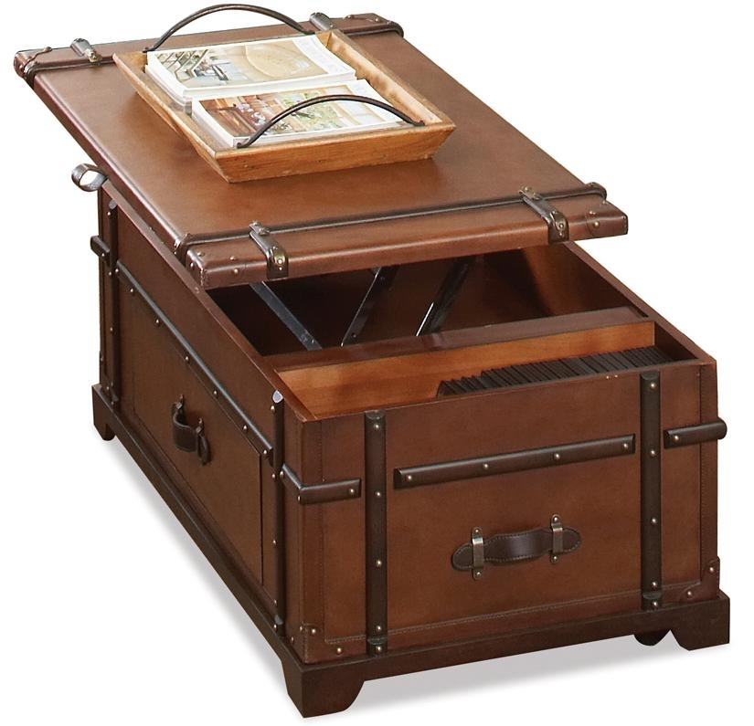 Riverside Furniture Latitudes Steamer Trunk Lift Top Cocktail Table With Grant Lift Top Cocktail Tables With Casters (Photo 8 of 40)