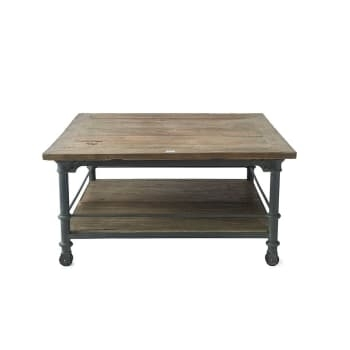 Riviera Maison Brooklyn Coffee Table Recycled Elm Wood Iron 90X90Cm Pertaining To Reclaimed Elm Iron Coffee Tables (Photo 18 of 40)