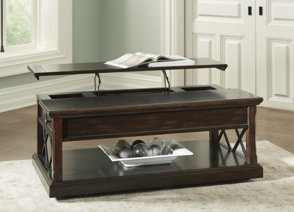 Roddinton – Dark Brown – Lift Top Cocktail Table | T701 9 | Cocktail Within Tillman Rectangle Lift Top Cocktail Tables (Image 38 of 40)