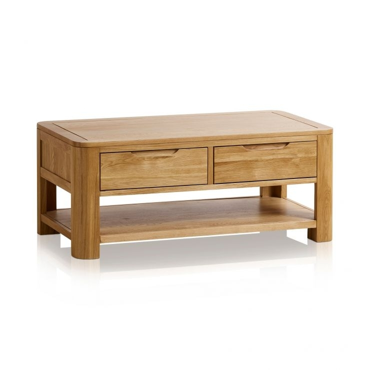 Romsey Coffee Table In Natural Solid Oak | Oak Furniture Land Inside Natural 2 Drawer Shutter Coffee Tables (Image 36 of 40)