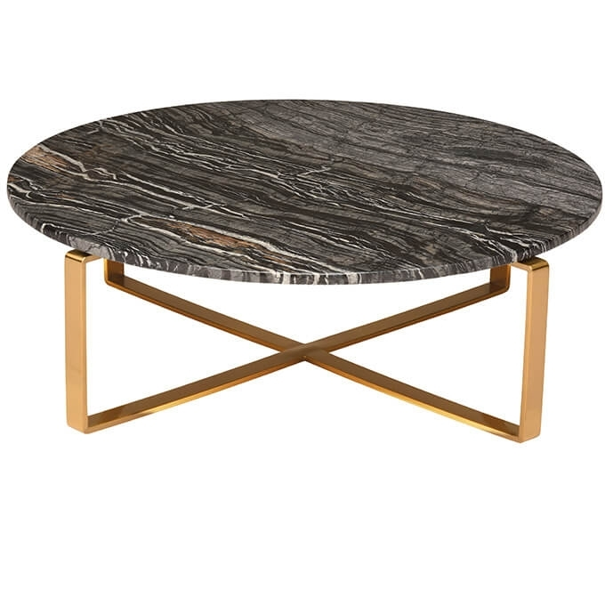 Rosa Modern Marble Coffee Table Black/brushed Gold Regarding Marble Coffee Tables (Image 31 of 40)